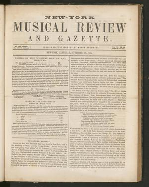 Primary view of New York Musical Review and Gazette, Volume 7, Number 19, September 20, 1856