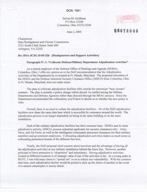 Primary view of object titled 'Letter from Steve M. Goldman to Chairman dtd 2 Jun 05'.