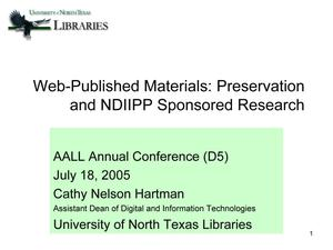 Primary view of object titled 'Web-Published Materials: Preservation and NDIIPP Sponsored Research'.