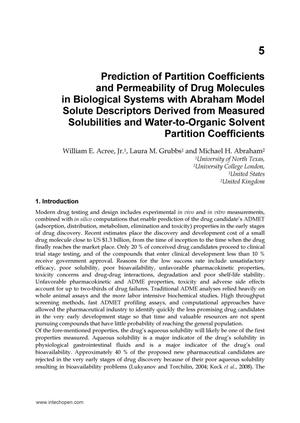 Prediction of Partition Coeffecients  and Permeability of Drug Molecules in Biological Systems with Abraham Model Solute Descriptors Derived from Measured Solubilities and Water-to-Organic Solvent Partition Coefficients