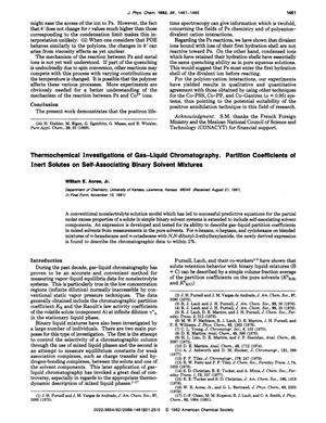 Primary view of object titled 'Thermochemical Investigations of Gas-Liquid Chromatography. Partition Coefficients of Inert Solutes on Self-Associating Binary Solvent Mixtures'.