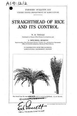 Straighthead of rice and its control.