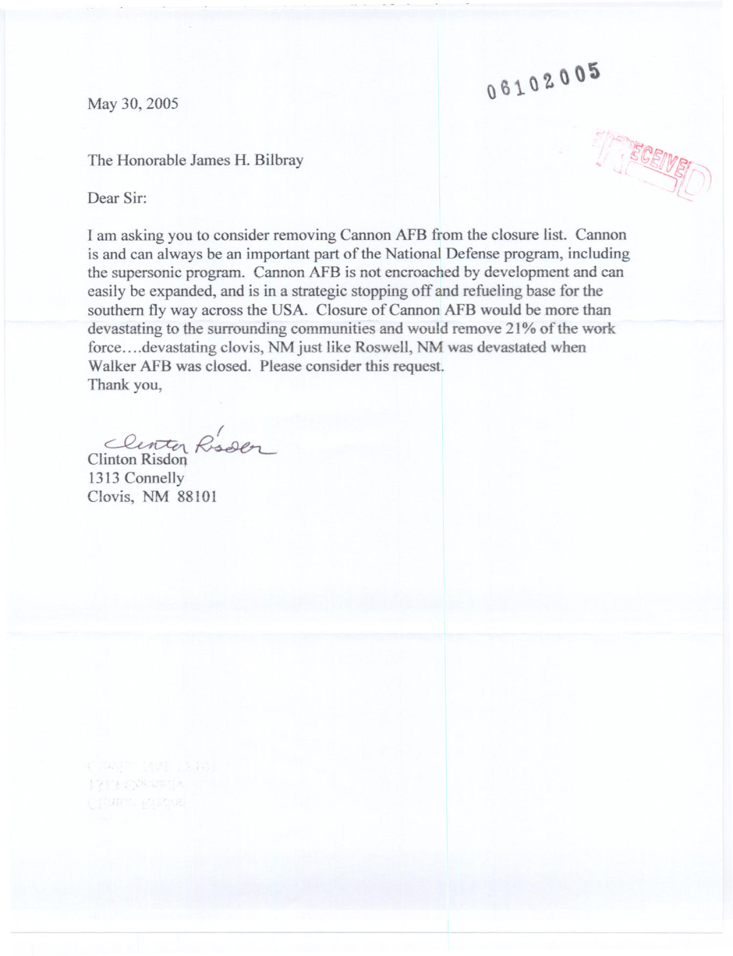 Cannon Air Force Base - Letter - Clinton Risdon                                                                                                      [Sequence #]: 4 of 18