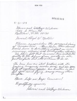 Primary view of object titled 'Cannon Air Force Base - Letter from Widner'.