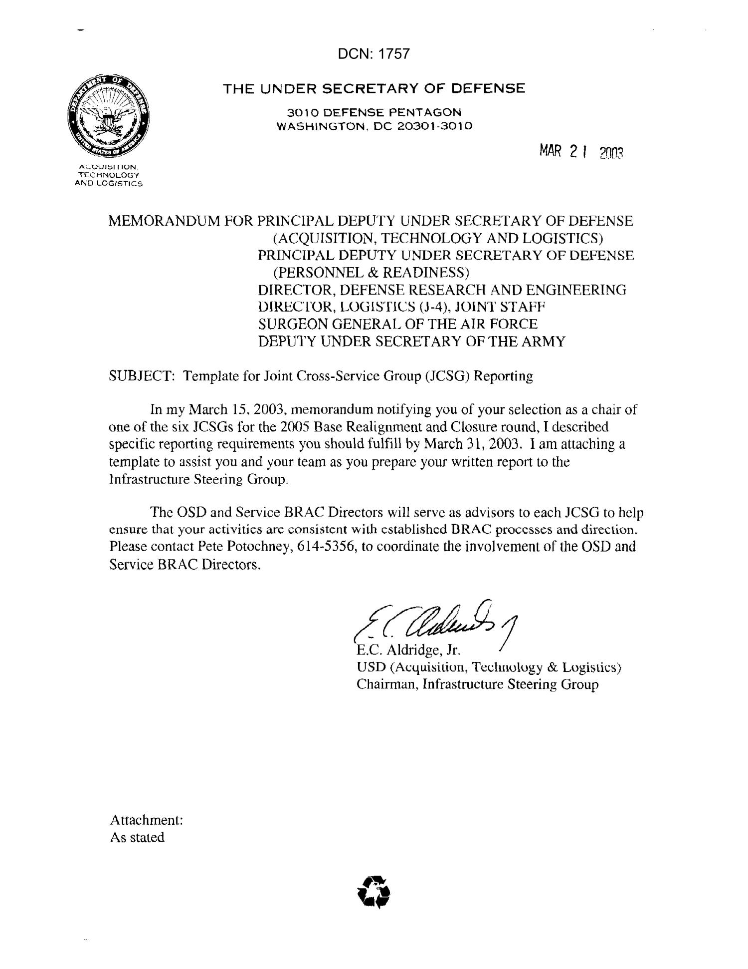 dod memorandum on joint cross