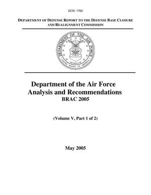 Primary view of object titled 'Department of the Air Force Analysis and Recommendations, Vol V'.