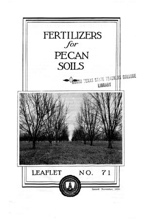 Primary view of object titled 'Fertilizers for pecan soils.'.