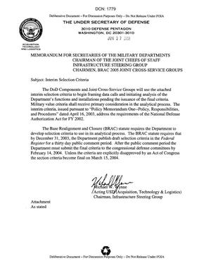 Primary view of object titled 'Memorandum for DoD Officials on Interim Selection Criteria'.