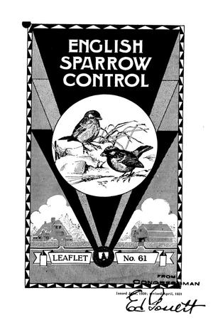 Primary view of object titled 'English Sparrow Control.'.