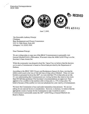 Primary view of object titled 'Letter to Chairman Principi from Wisconsin Gov. Jim Doyle, WI Senators Herb Kohl and Russ Feingold, WI Representatives Given Moore, Dave Obey, Jim Sensenbrenner, Tom Petri, Ron Kind, Tammy Baldwin, Mark Green, and Paul Ryan'.
