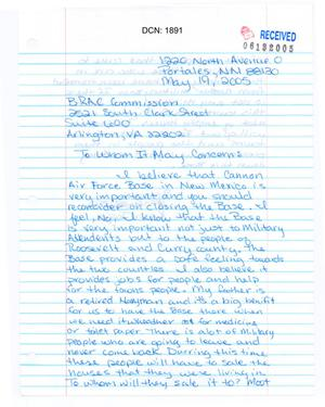 Primary view of object titled 'Letter from a student attending a Portales Municipal School'.