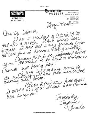 Primary view of object titled 'Letters from Cannon Air Force Base Community to Commissioners'.
