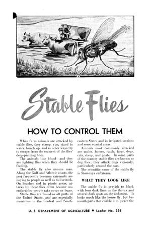 Primary view of object titled 'Stable flies : how to control them.'.
