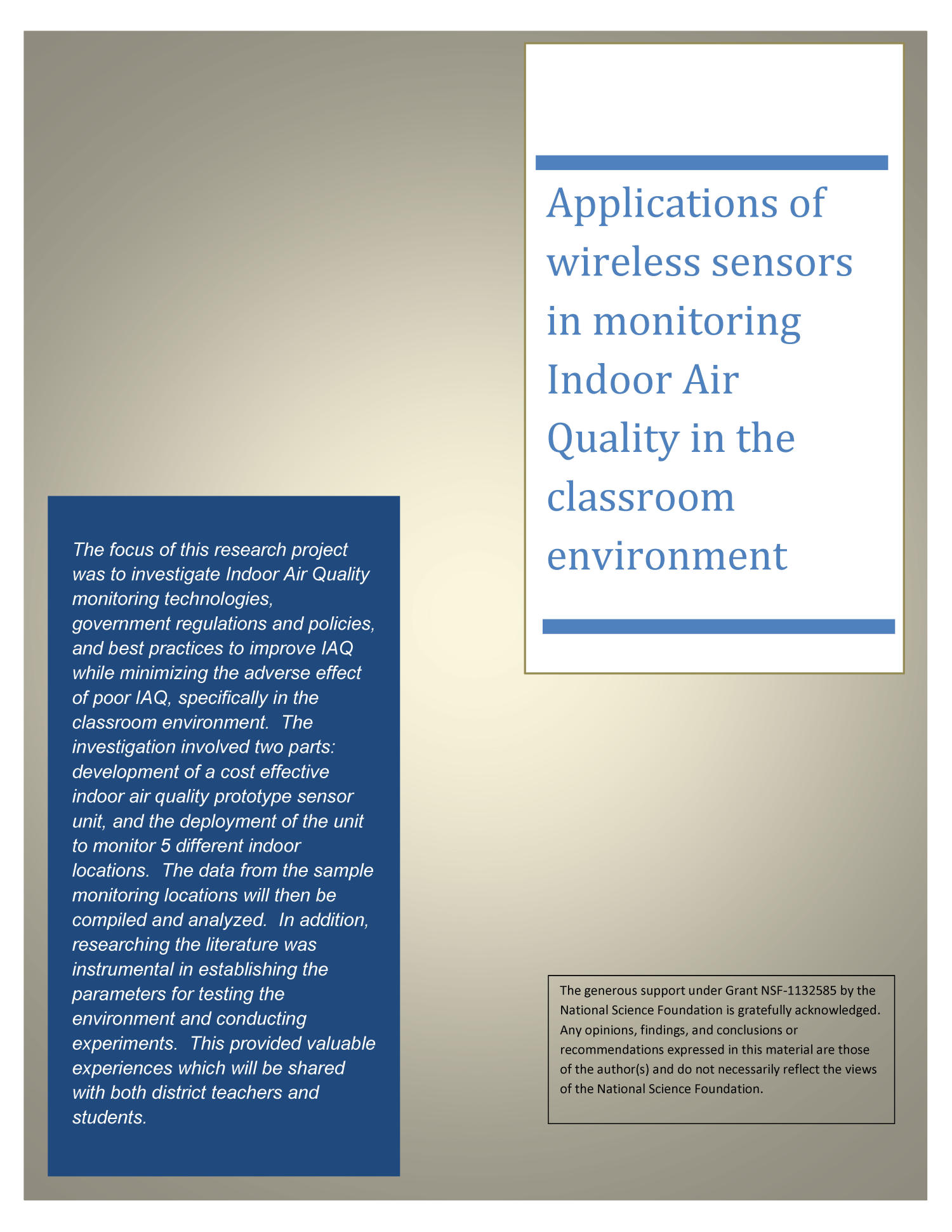 Applications of wireless sensors in monitoring Indoor Air Quality in the classroom environment                                                                                                      Front Cover