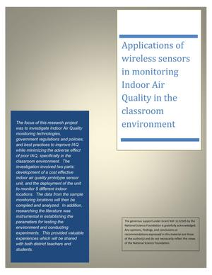 Primary view of object titled 'Applications of wireless sensors in monitoring Indoor Air Quality in the classroom environment'.