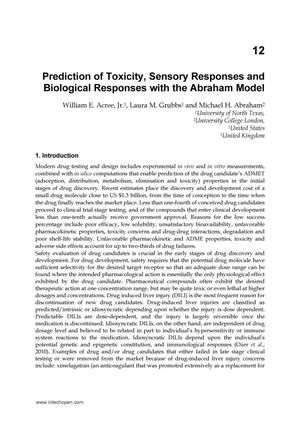 Primary view of object titled 'Prediction of Toxicity, Sensory Responses and Biological Responses with the Abraham Model'.