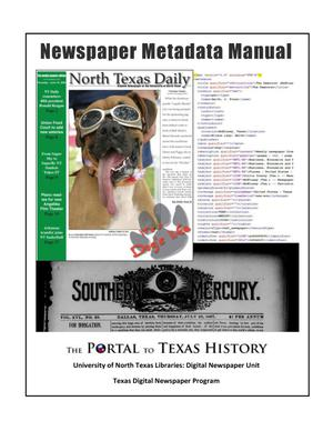 Primary view of object titled 'Newspaper Metadata Manual'.