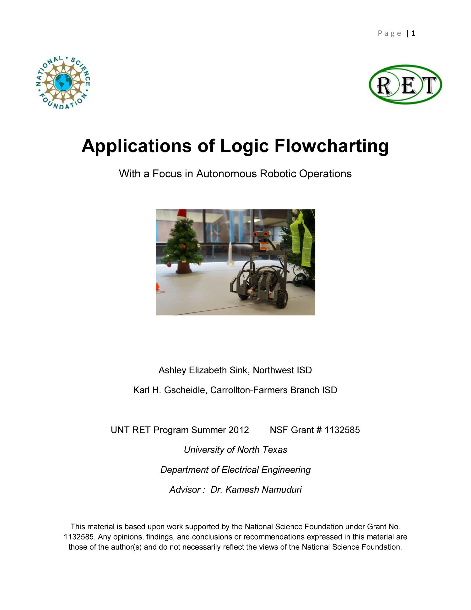 Applications of Logic Flowcharting With a Focus in Autonomous Robotic Operations                                                                                                      1