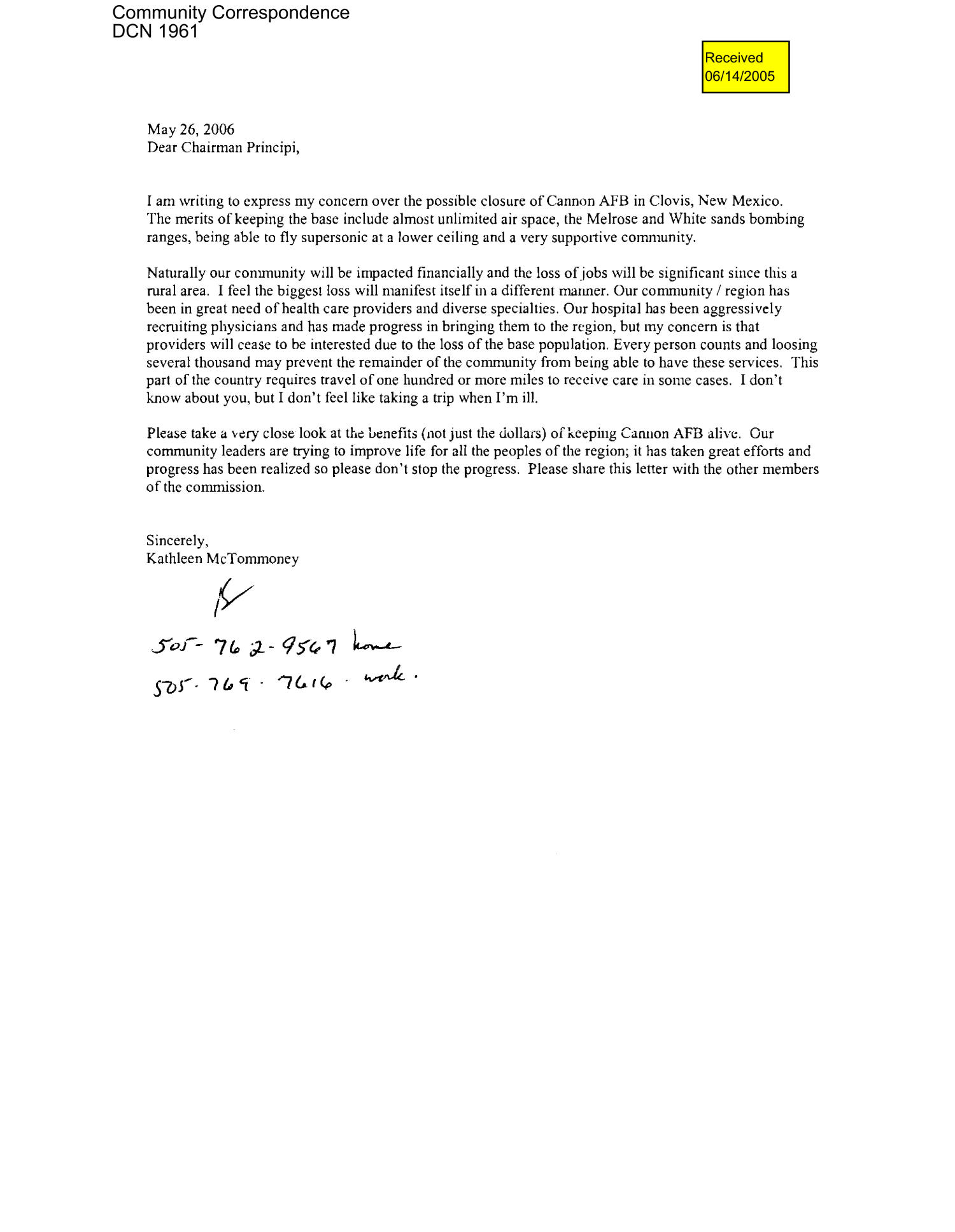 Letter to Chairman Principi, and Commissioners Brig. General Turner, Skinner from Kathleen McTommoney                                                                                                      [Sequence #]: 1 of 3