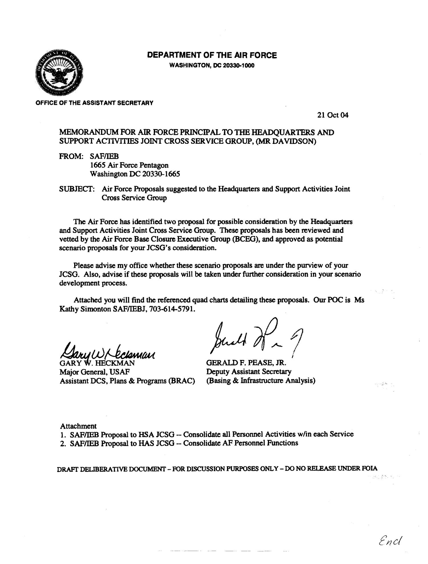 Memo on air force proposals to realign military and for Air force mfr template