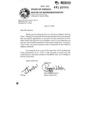 Primary view of object titled 'Letter from Indiana State Rep Peggy Welch to Mr. Epstein and Commissioner Skinner'.