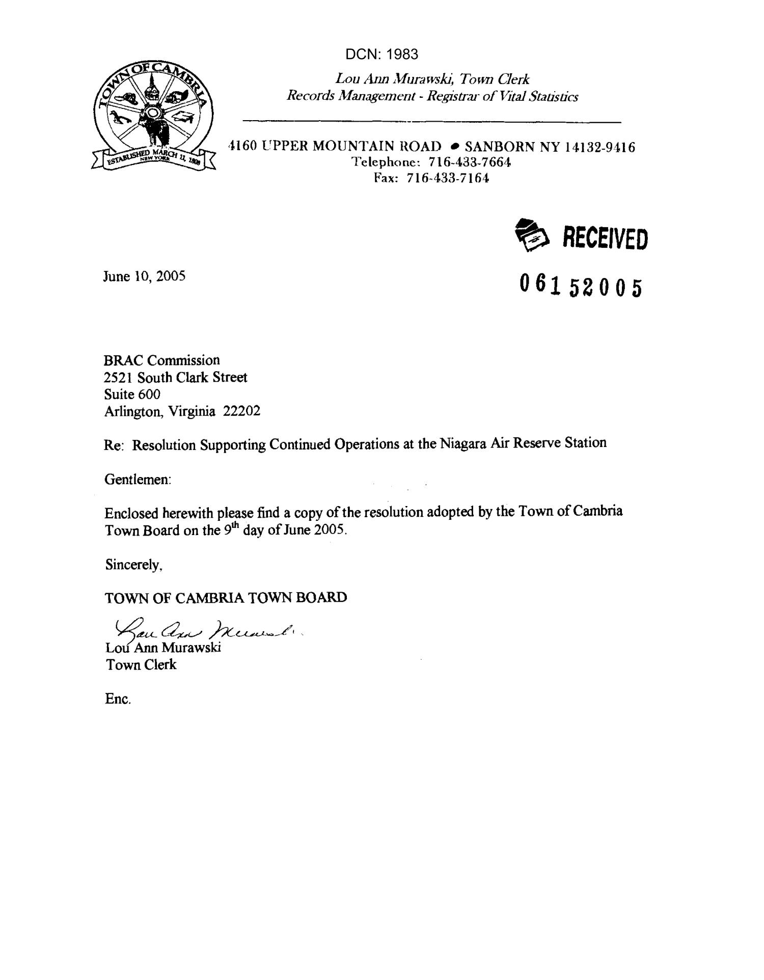 Letter and resolution from town of cambria board new york for Letter of resolution template
