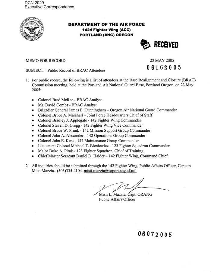 Memorandum From The Public Affairs Office 142nd Fighter