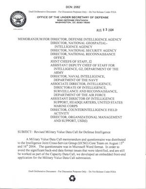 Primary view of object titled 'Revised Military Value Dat CAll for Defense Intelligence'.