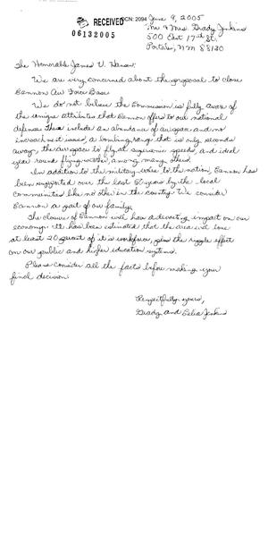 Primary view of object titled 'Letter from Grady and Celia Jenkins to Commission'.