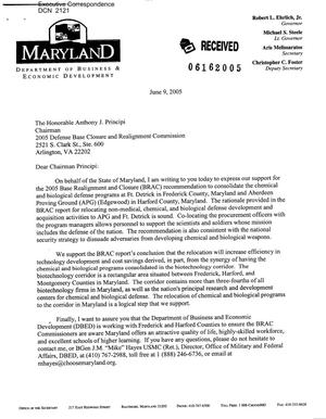 Primary view of object titled 'Letter to Chairman Principi from Aris Melissaratos Secretary of the Maryland Department of Business & Economic Development'.