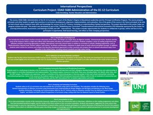 Primary view of object titled 'International Perspectives Curriculum Project: EDAD 5680 Administration of the EC-12 Curriculum'.