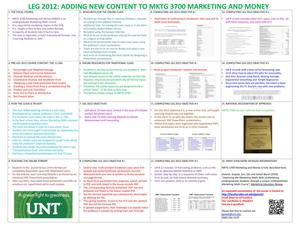 Adding New Content to MKTG 3700 - Marketing and Money
