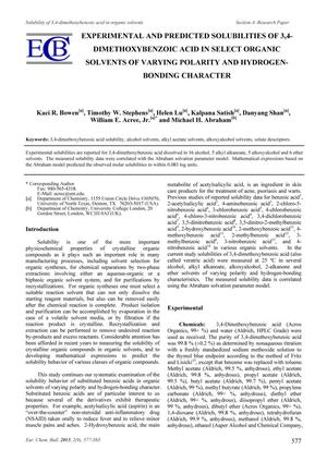 Primary view of object titled 'Experimental and Predicted Solubilities of 3,4-Dimethoxybenzoic Acid in Select Organic Solvents of Varying Polarity and Hydrogen-bonding Character'.