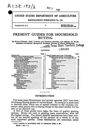 Primary view of object titled 'Present guides for household buying.'.