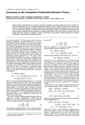 Primary view of object titled 'Comments on the Competitive Preferential Solvation Theory'.