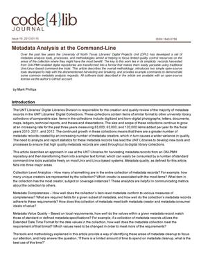 Metadata Analysis at the Command-Line