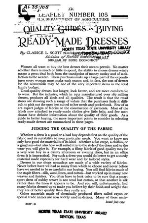 Primary view of object titled 'Quality Guides in Buying Ready-Made Dresses.'.