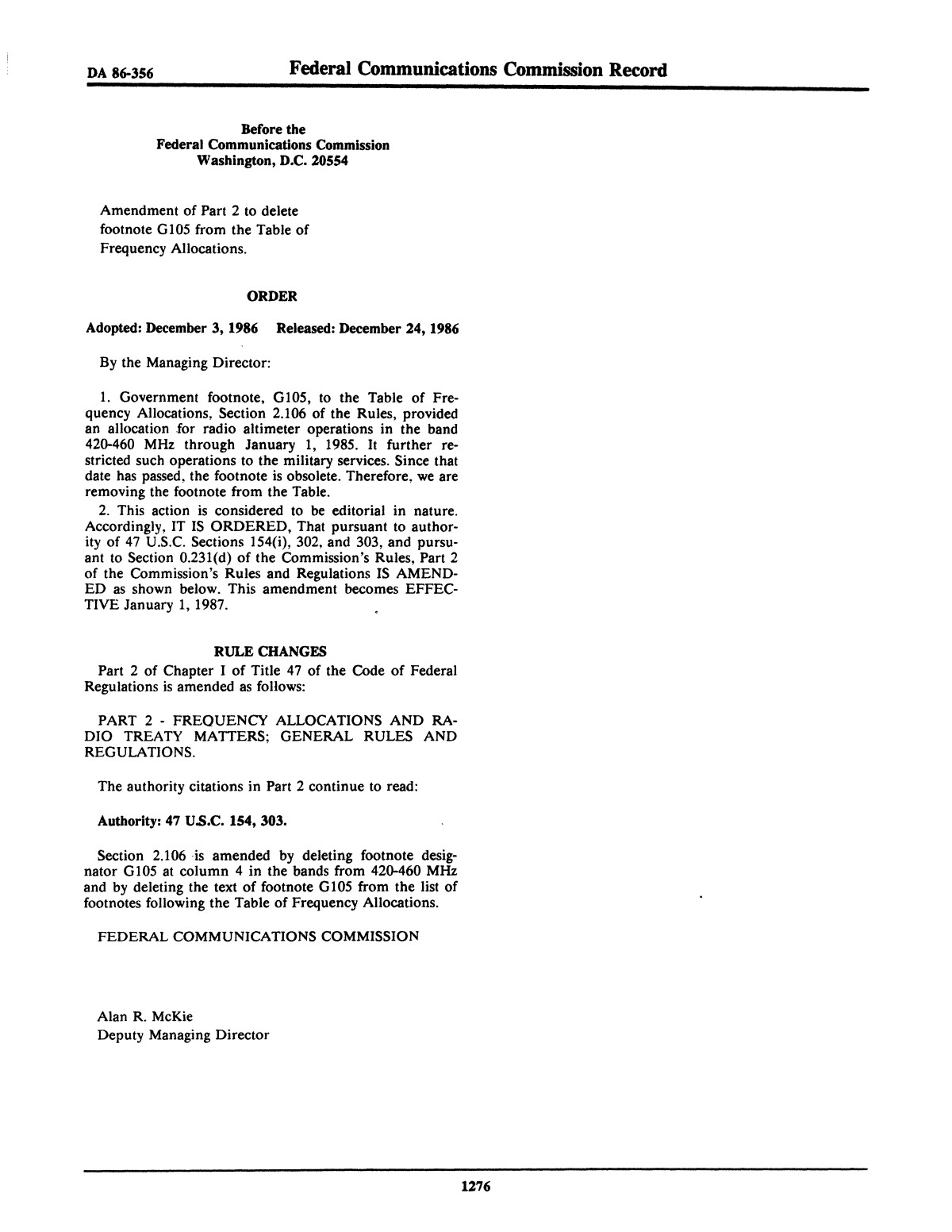 FCC Record, Volume 1, No. 7, Pages 1267 to 1368, December 22, 1986 - January 2, 1987                                                                                                      1276
