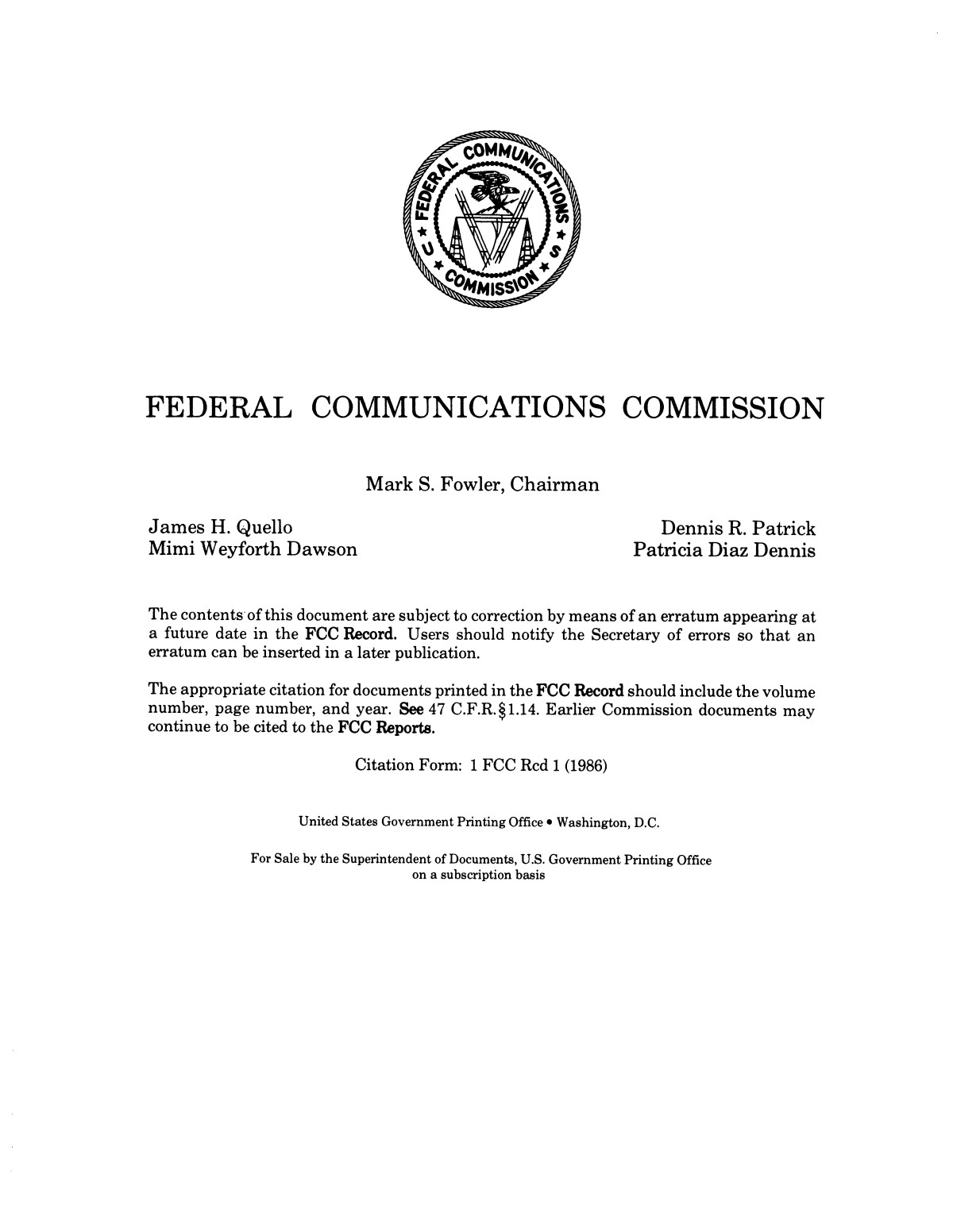 FCC Record, Volume 1, No. 7, Pages 1267 to 1368, December 22, 1986 - January 2, 1987                                                                                                      None