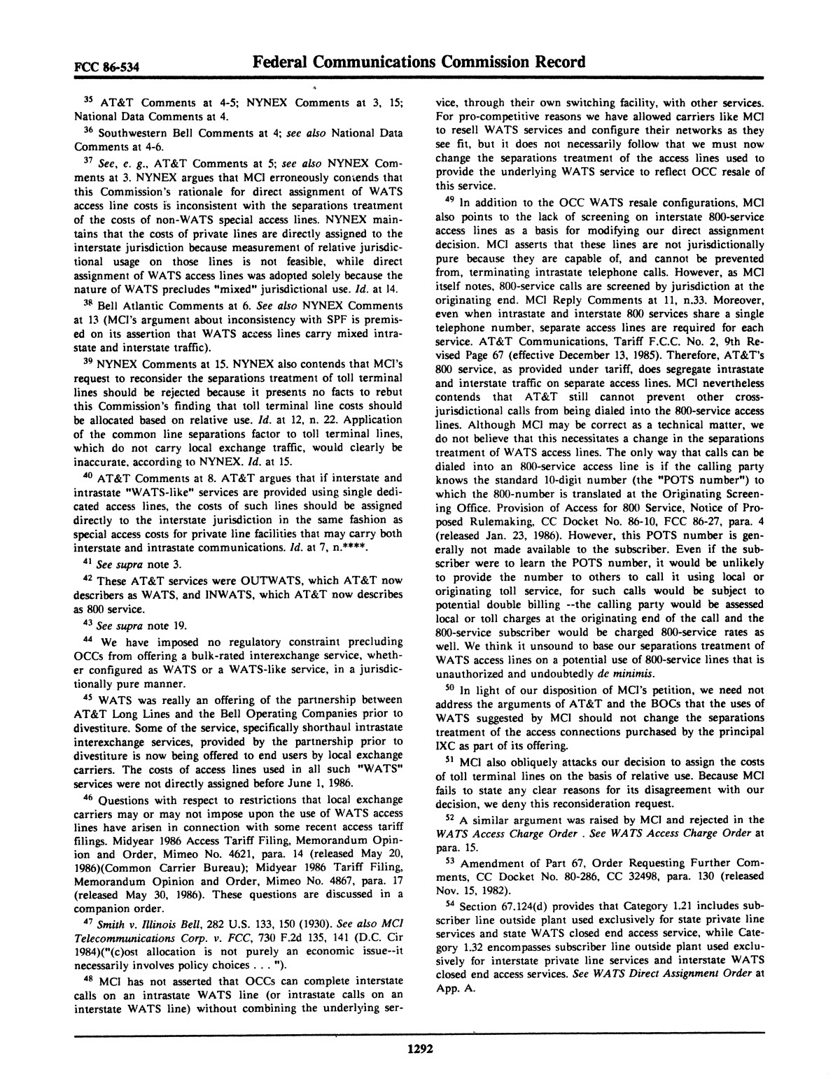 FCC Record, Volume 1, No. 7, Pages 1267 to 1368, December 22, 1986 - January 2, 1987                                                                                                      1292