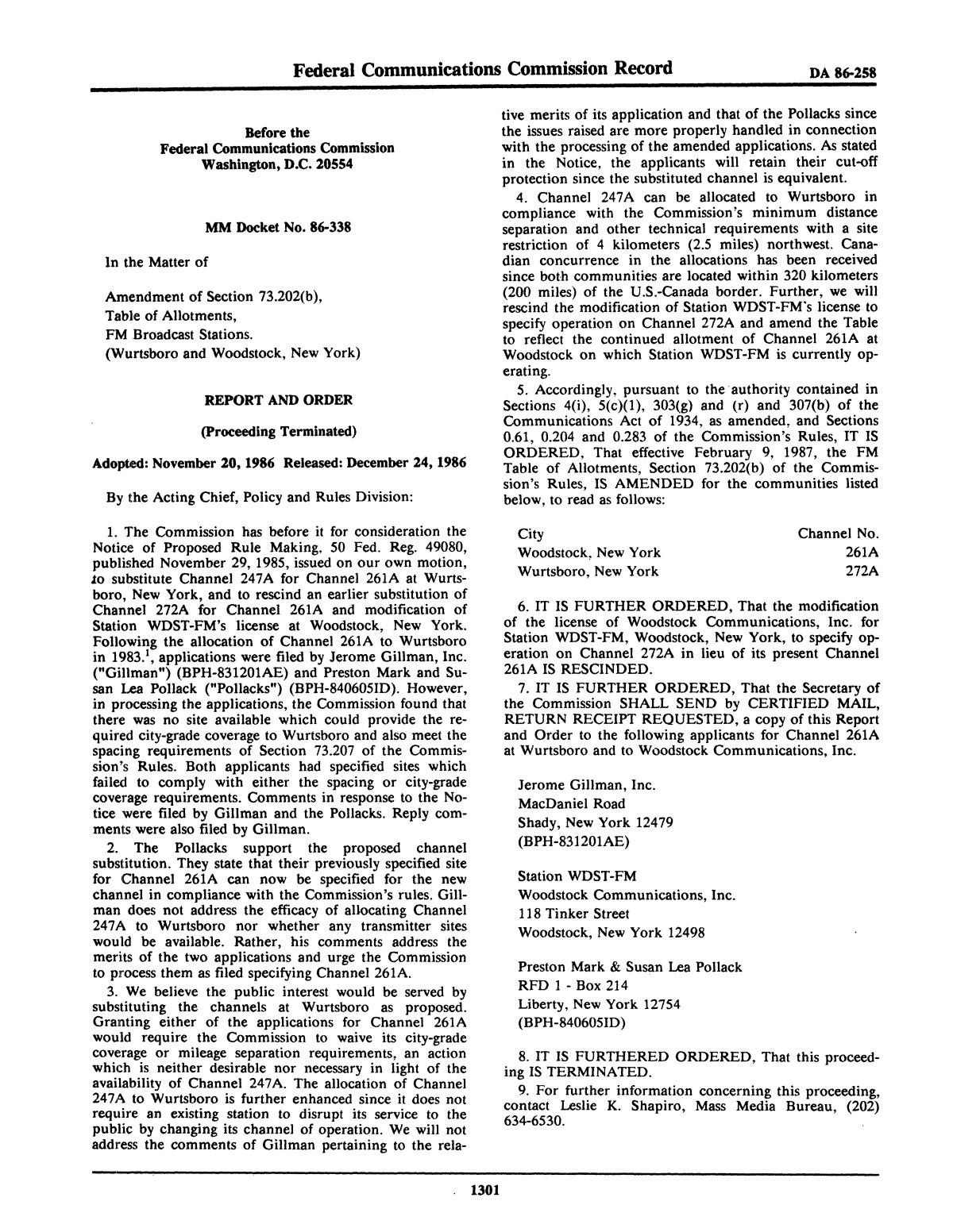 FCC Record, Volume 1, No. 7, Pages 1267 to 1368, December 22, 1986 - January 2, 1987                                                                                                      1301