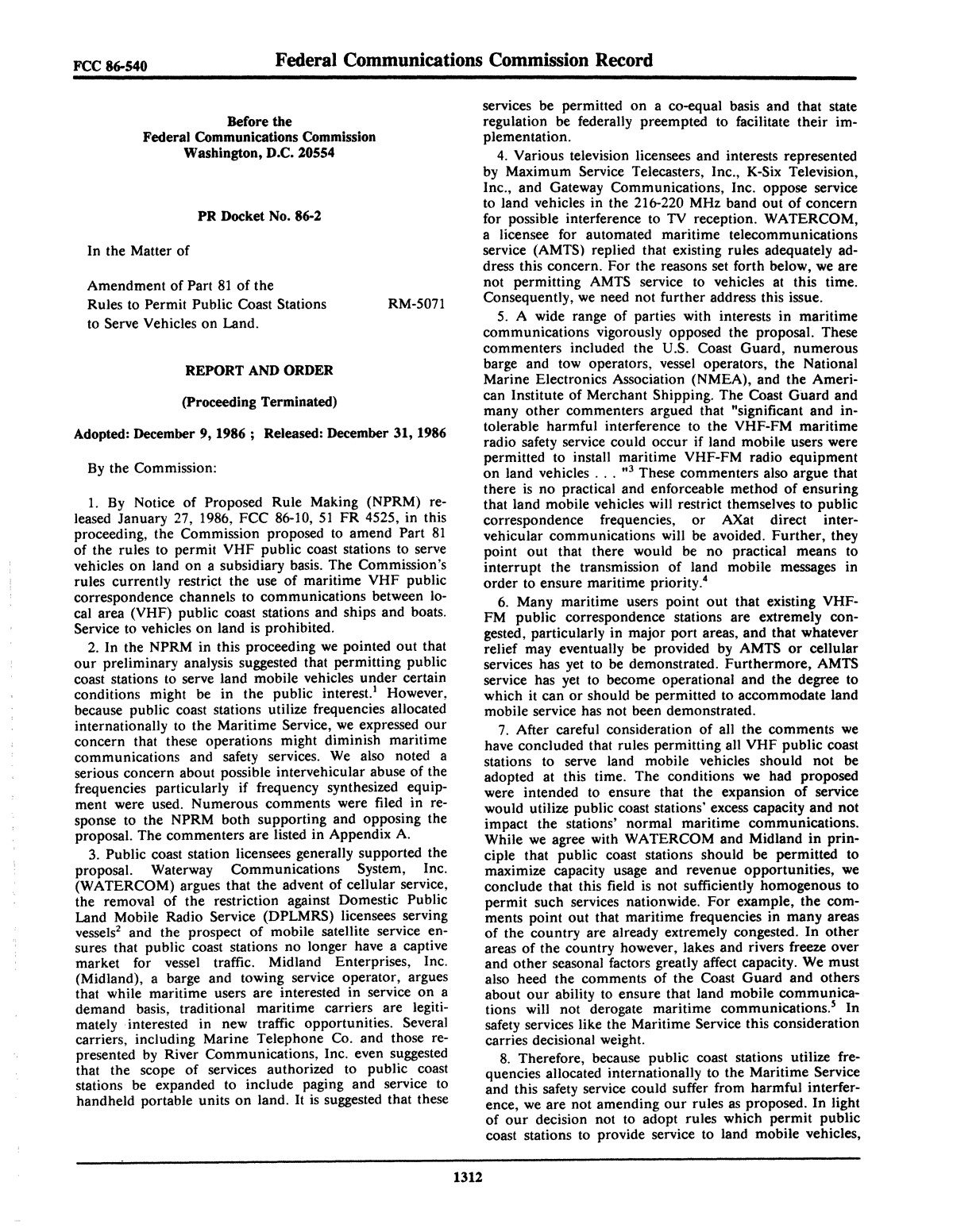 FCC Record, Volume 1, No. 7, Pages 1267 to 1368, December 22, 1986 - January 2, 1987                                                                                                      1312