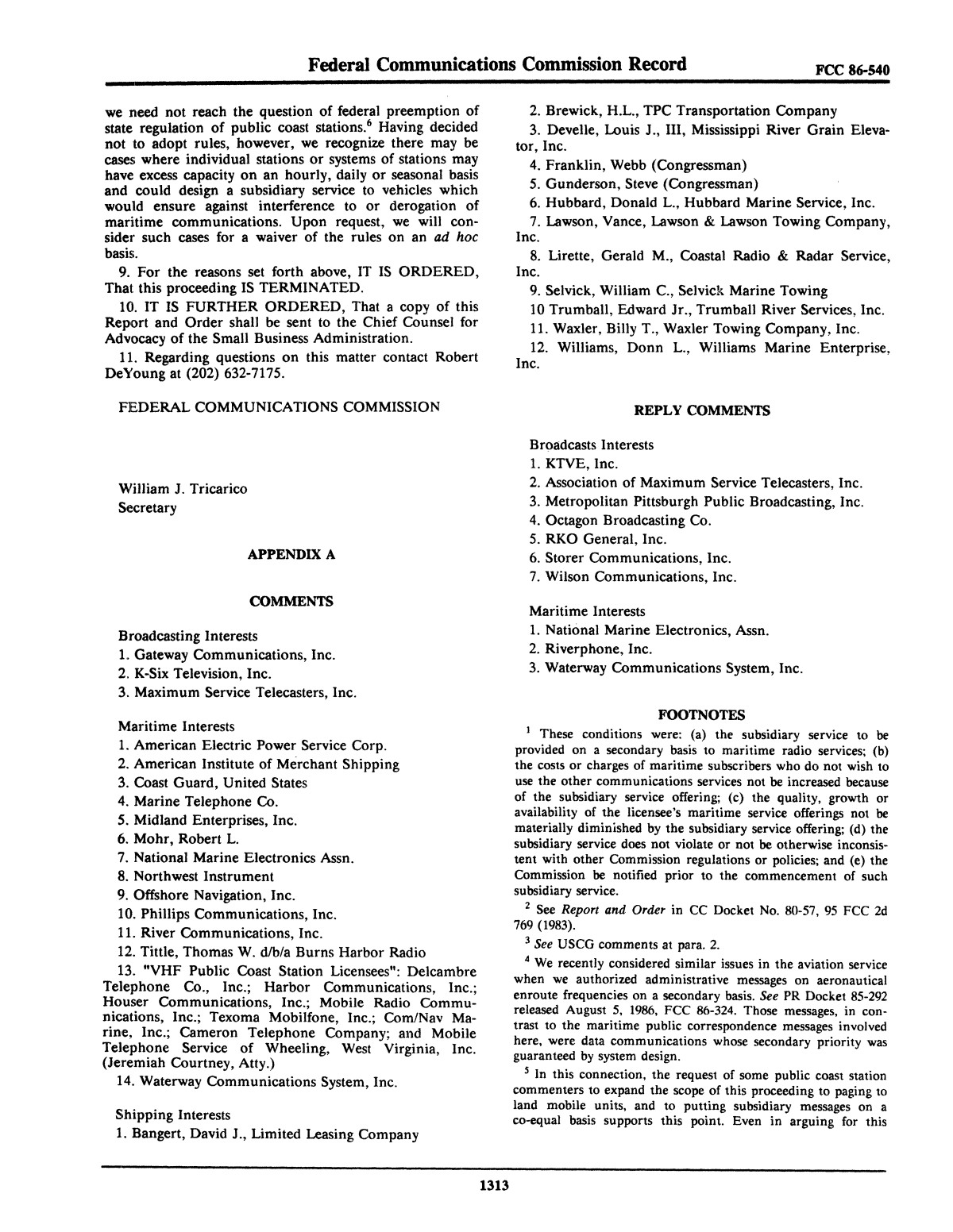 FCC Record, Volume 1, No. 7, Pages 1267 to 1368, December 22, 1986 - January 2, 1987                                                                                                      1313