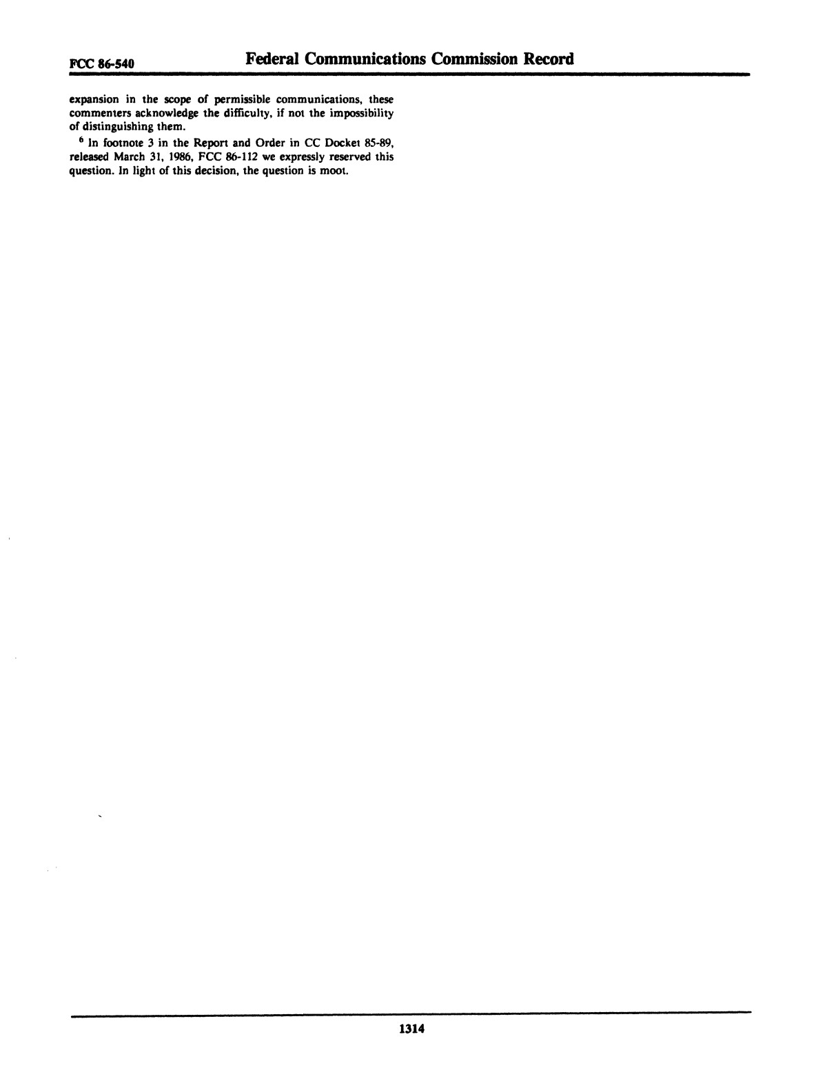 FCC Record, Volume 1, No. 7, Pages 1267 to 1368, December 22, 1986 - January 2, 1987                                                                                                      1314