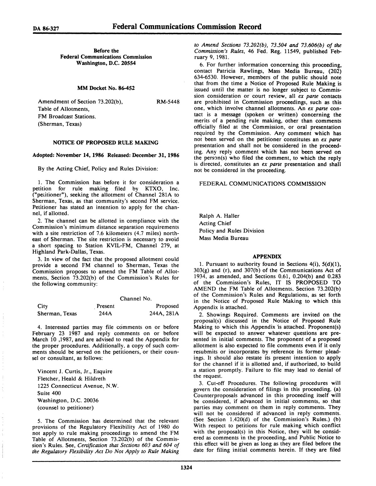 FCC Record, Volume 1, No. 7, Pages 1267 to 1368, December 22, 1986 - January 2, 1987                                                                                                      1324
