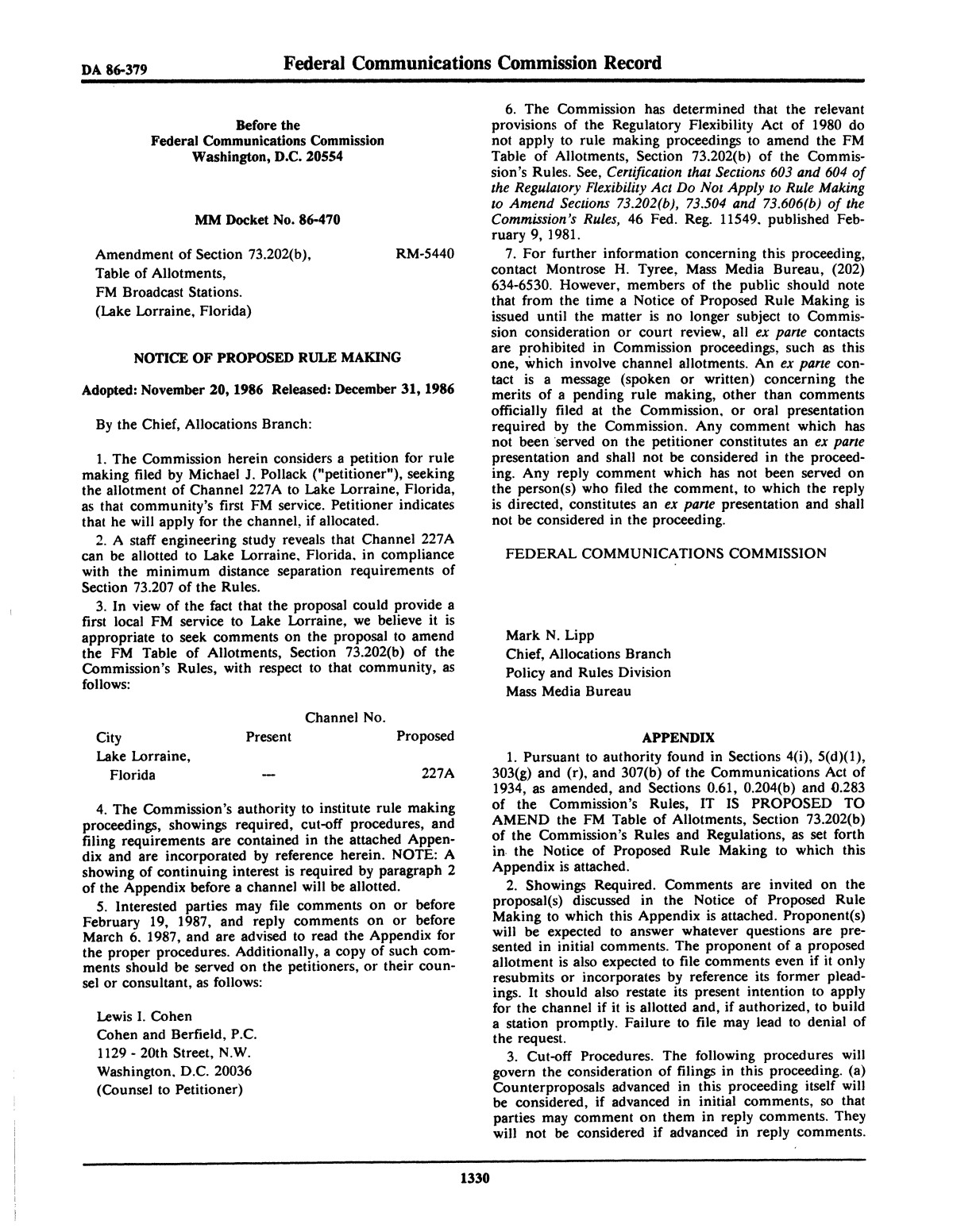 FCC Record, Volume 1, No. 7, Pages 1267 to 1368, December 22, 1986 - January 2, 1987                                                                                                      1330