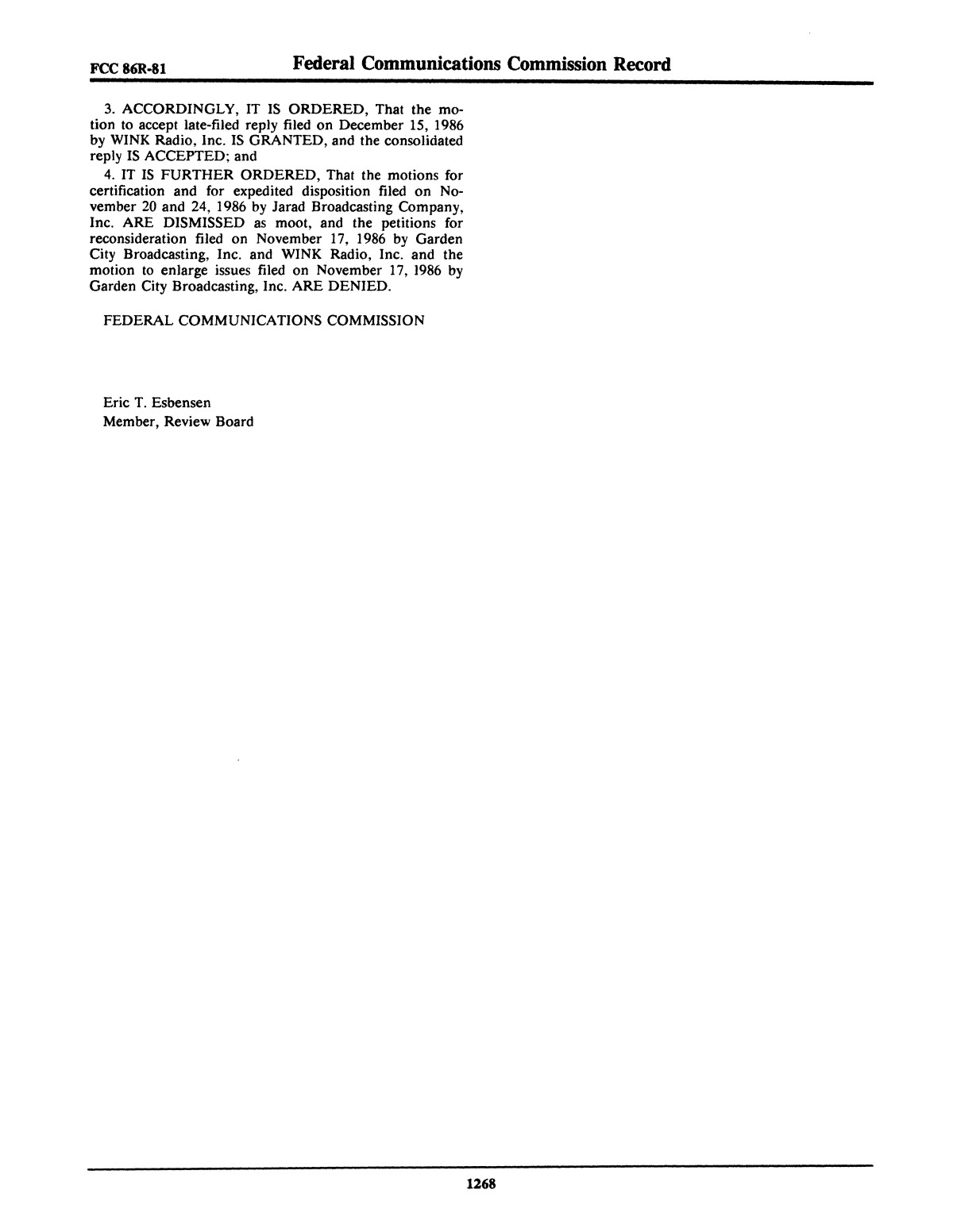 FCC Record, Volume 1, No. 7, Pages 1267 to 1368, December 22, 1986 - January 2, 1987                                                                                                      1268