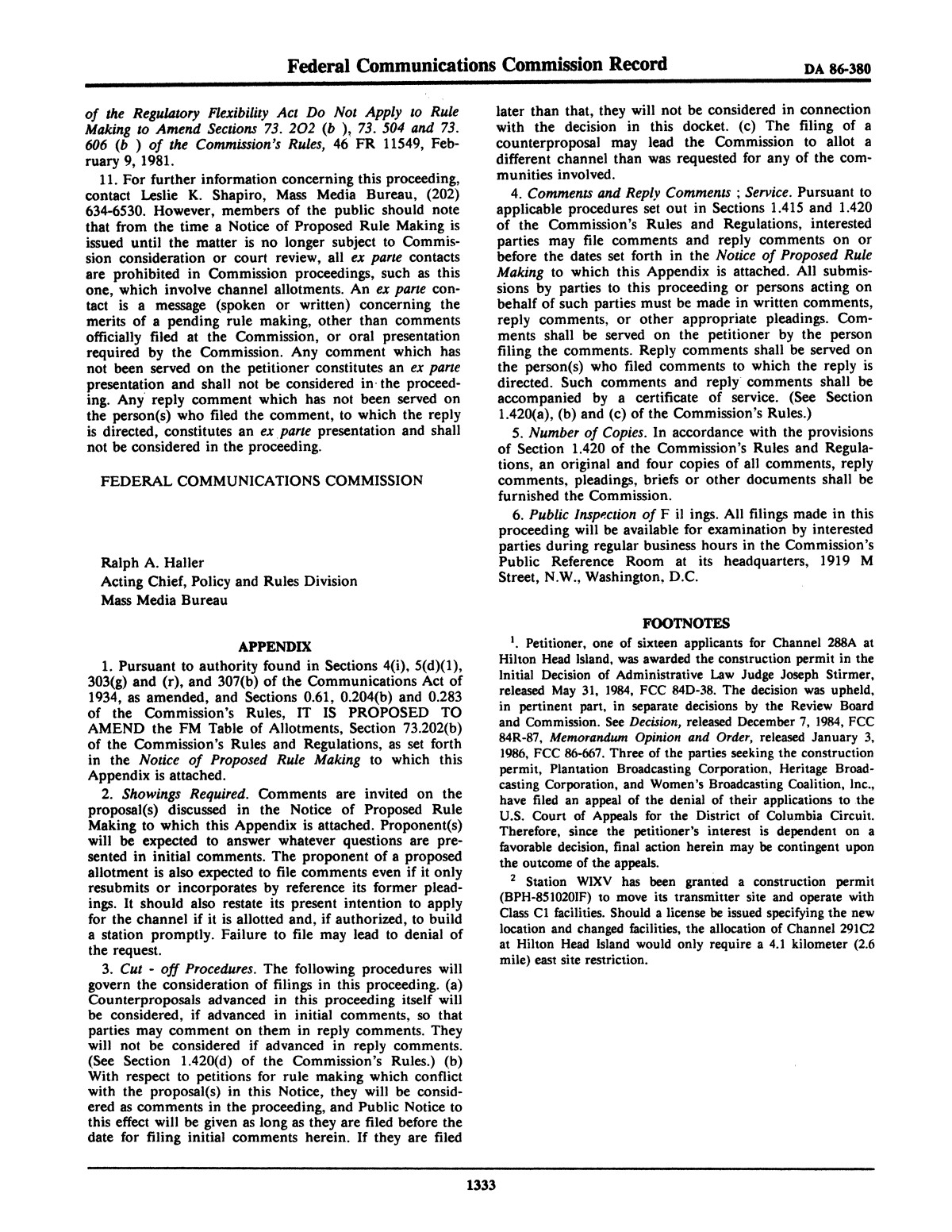 FCC Record, Volume 1, No. 7, Pages 1267 to 1368, December 22, 1986 - January 2, 1987                                                                                                      1333