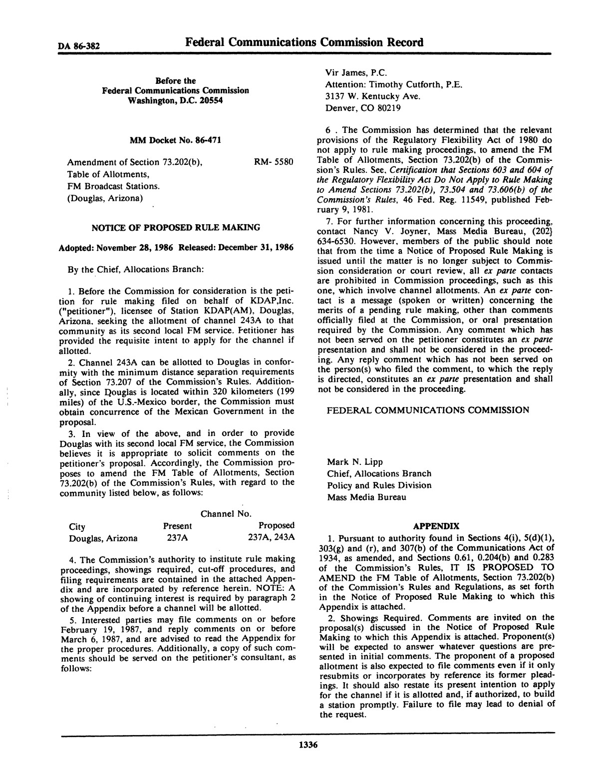 FCC Record, Volume 1, No. 7, Pages 1267 to 1368, December 22, 1986 - January 2, 1987                                                                                                      1336