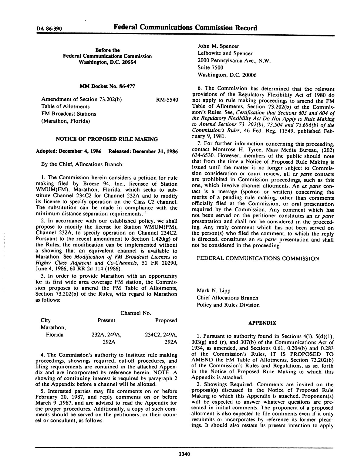 FCC Record, Volume 1, No. 7, Pages 1267 to 1368, December 22, 1986 - January 2, 1987                                                                                                      1340